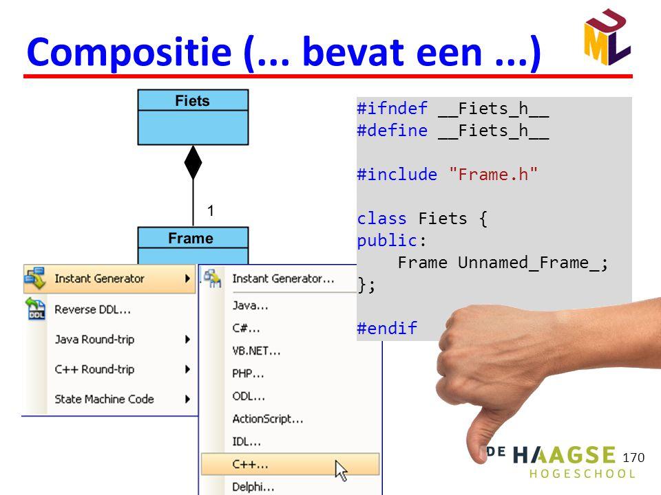 170 Compositie (... bevat een...) #ifndef __Fiets_h__ #define __Fiets_h__ #include