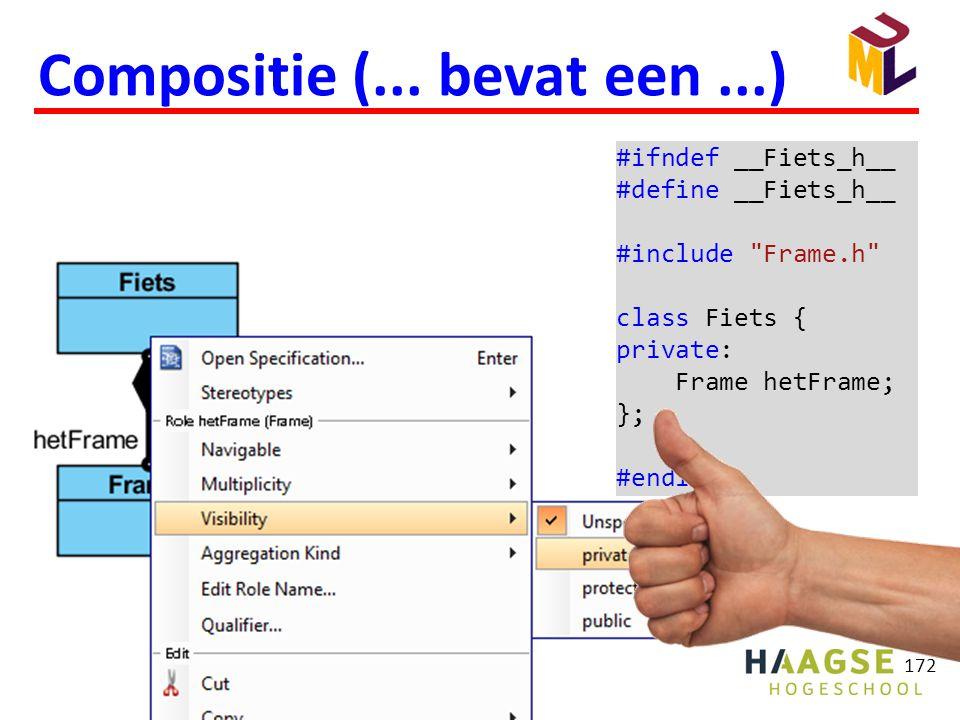 172 Compositie (... bevat een...) #ifndef __Fiets_h__ #define __Fiets_h__ #include