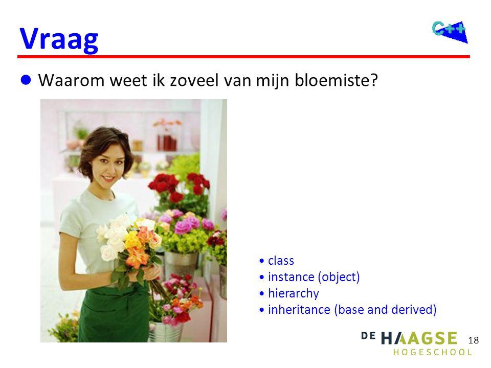 18 Vraag  Waarom weet ik zoveel van mijn bloemiste? • class • instance (object) • hierarchy • inheritance (base and derived)