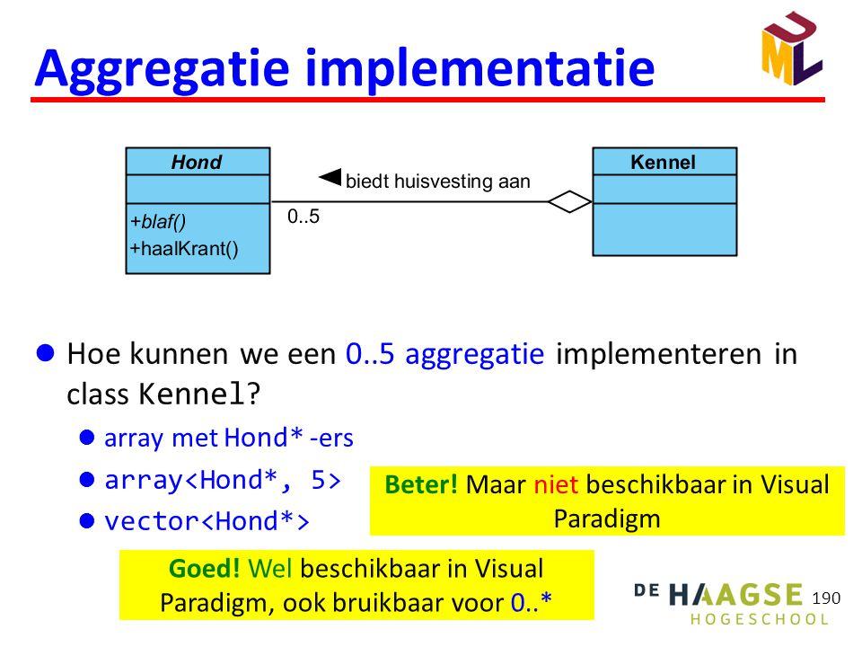 190 Aggregatie implementatie  Hoe kunnen we een 0..5 aggregatie implementeren in class Kennel ?  array met Hond* -ers  array  vector Beter! Maar n