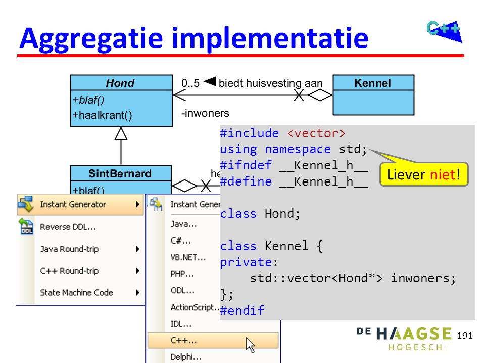 191 Aggregatie implementatie #include using namespace std; #ifndef __Kennel_h__ #define __Kennel_h__ class Hond; class Kennel { private: std::vector i