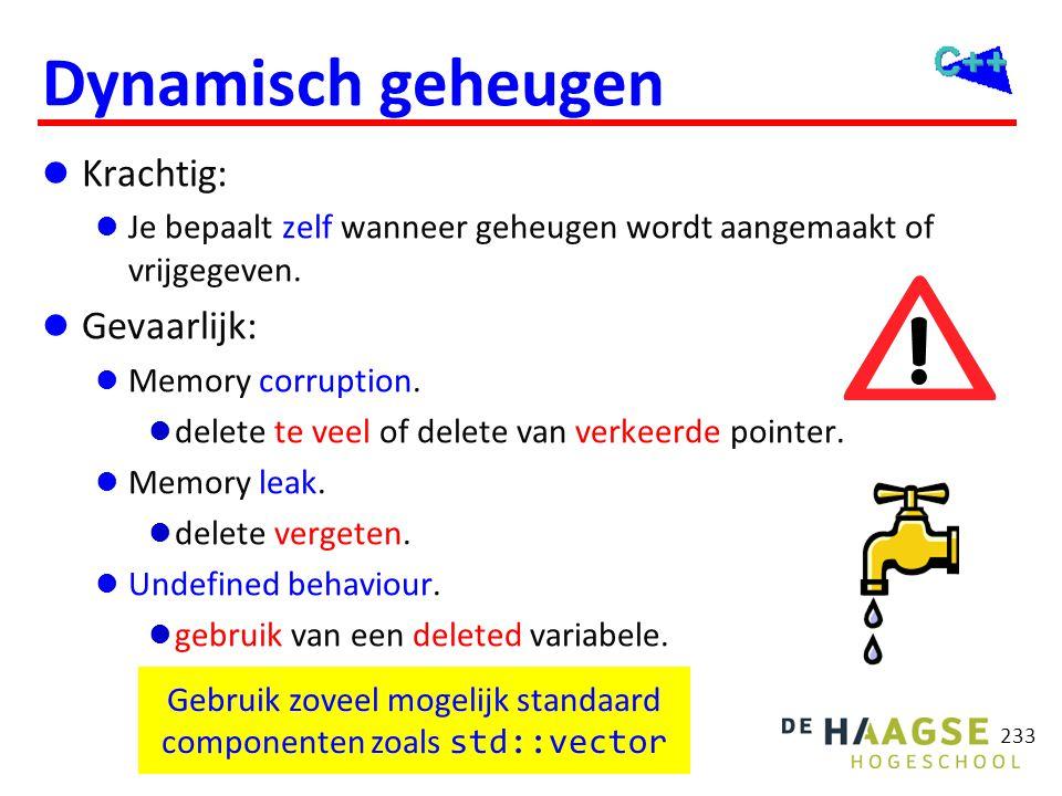 233 Dynamisch geheugen  Krachtig:  Je bepaalt zelf wanneer geheugen wordt aangemaakt of vrijgegeven.  Gevaarlijk:  Memory corruption.  delete te