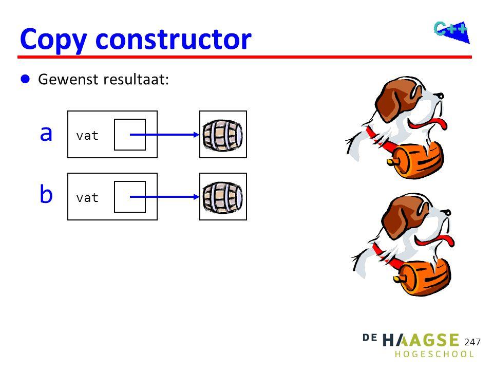 247 Copy constructor  Gewenst resultaat: a vat b
