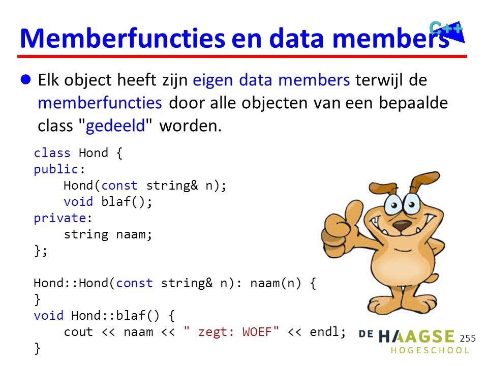 255 Memberfuncties en data members  Elk object heeft zijn eigen data members terwijl de memberfuncties door alle objecten van een bepaalde class