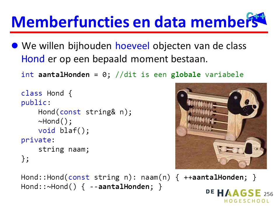 256 Memberfuncties en data members  We willen bijhouden hoeveel objecten van de class Hond er op een bepaald moment bestaan. int aantalHonden = 0; //
