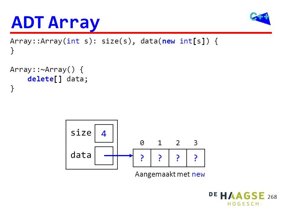 268 ADT Array Array::Array(int s): size(s), data(new int[s]) { } Array::~Array() { delete[] data; } Aangemaakt met new 4 size data ???? 0123