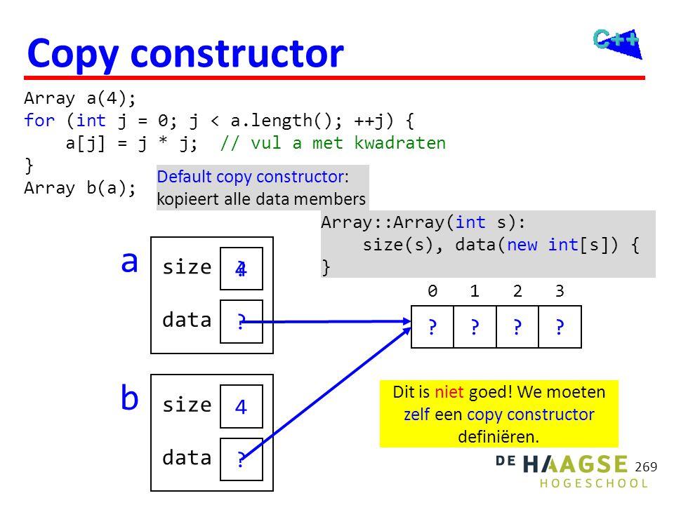 269 ? ? 0149 ???? ? ? Copy constructor Array a(4); for (int j = 0; j < a.length(); ++j) { a[j] = j * j; // vul a met kwadraten } Array b(a); Array::Ar