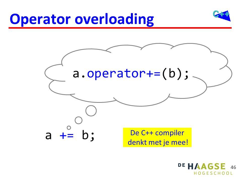 46 Operator overloading a += b; a.operator+=(b); De C++ compiler denkt met je mee!