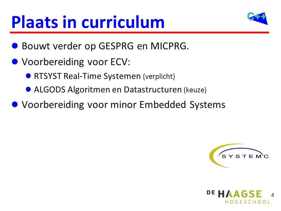 4 Plaats in curriculum  Bouwt verder op GESPRG en MICPRG.  Voorbereiding voor ECV:  RTSYST Real-Time Systemen (verplicht)  ALGODS Algoritmen en Da