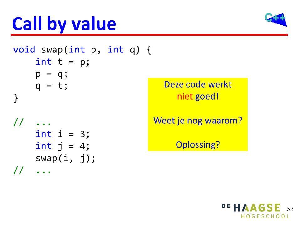 53 Call by value void swap(int p, int q) { int t = p; p = q; q = t; } //... int i = 3; int j = 4; swap(i, j); //... Deze code werkt niet goed! Weet je