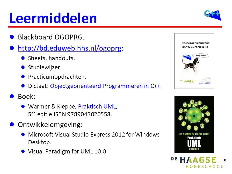 5 Leermiddelen  Blackboard OGOPRG.  http://bd.eduweb.hhs.nl/ogoprg: http://bd.eduweb.hhs.nl/ogoprg  Sheets, handouts.  Studiewijzer.  Practicumop