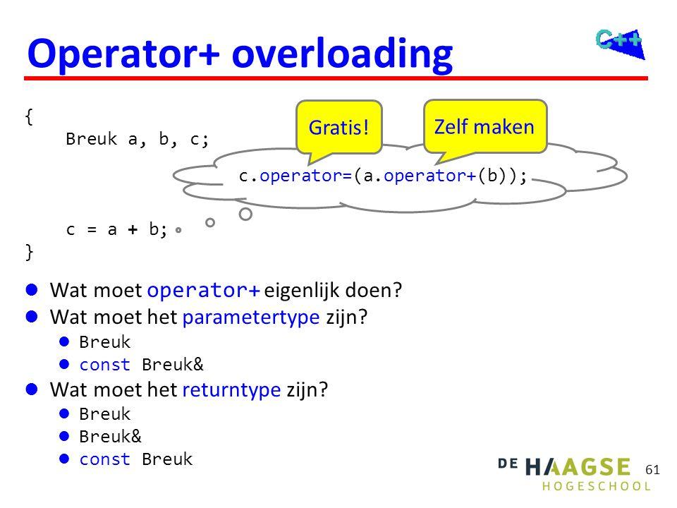 61 Operator+ overloading { Breuk a, b, c; c = a + b; } c.operator=(a.operator+(b)); Gratis! Zelf maken  Wat moet operator+ eigenlijk doen?  Wat moet