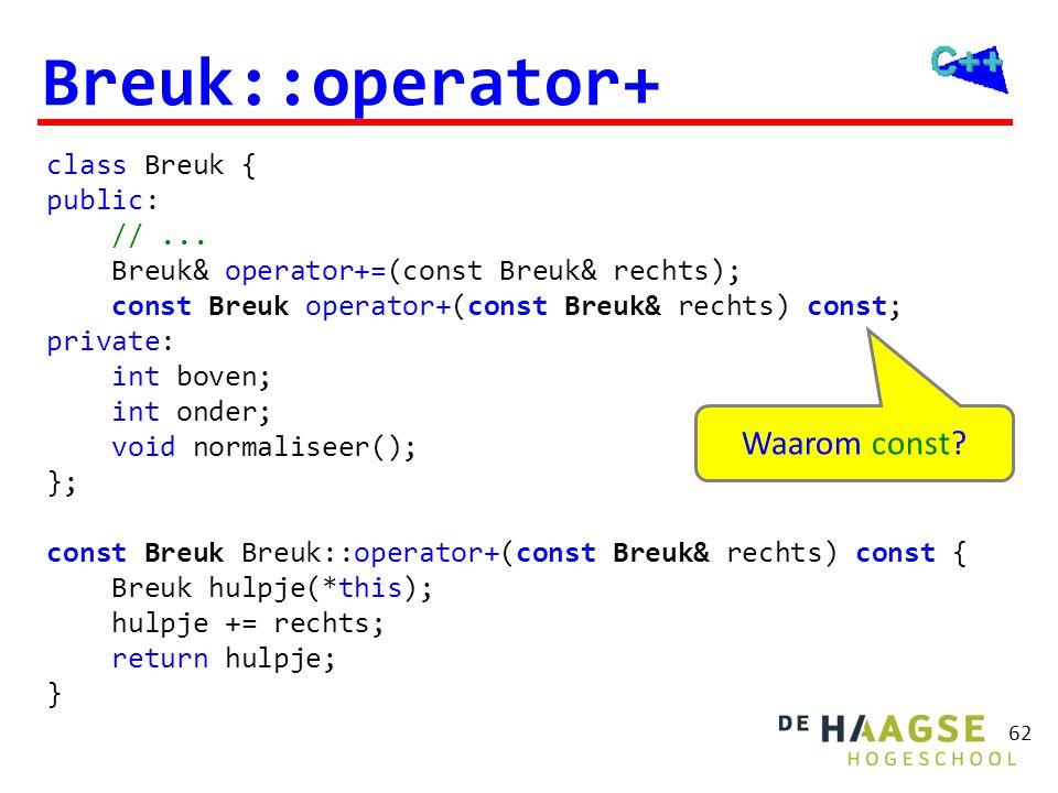 62 Breuk::operator+ class Breuk { public: //... Breuk& operator+=(const Breuk& rechts); const Breuk operator+(const Breuk& rechts) const; private: int