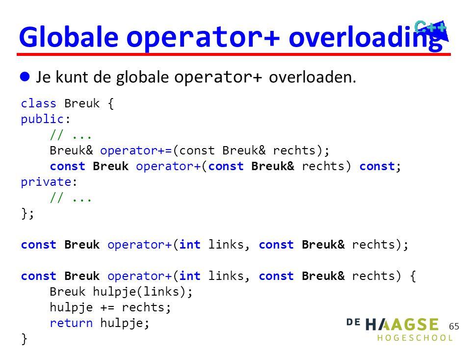 65 Globale operator+ overloading  Je kunt de globale operator+ overloaden. class Breuk { public: //... Breuk& operator+=(const Breuk& rechts); const