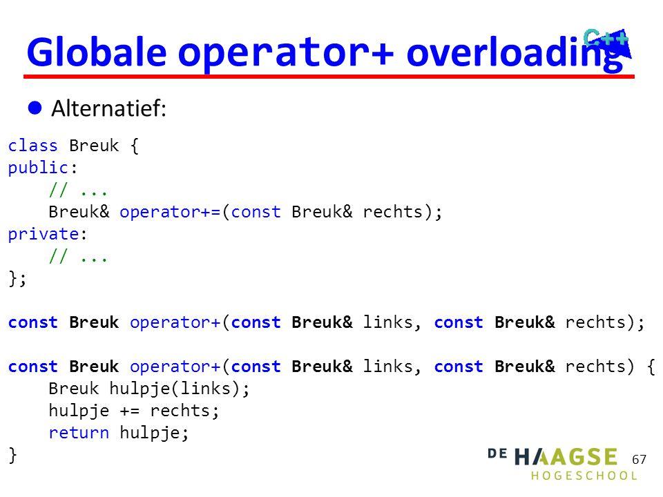 67 Globale operator+ overloading  Alternatief: class Breuk { public: //... Breuk& operator+=(const Breuk& rechts); private: //... }; const Breuk oper