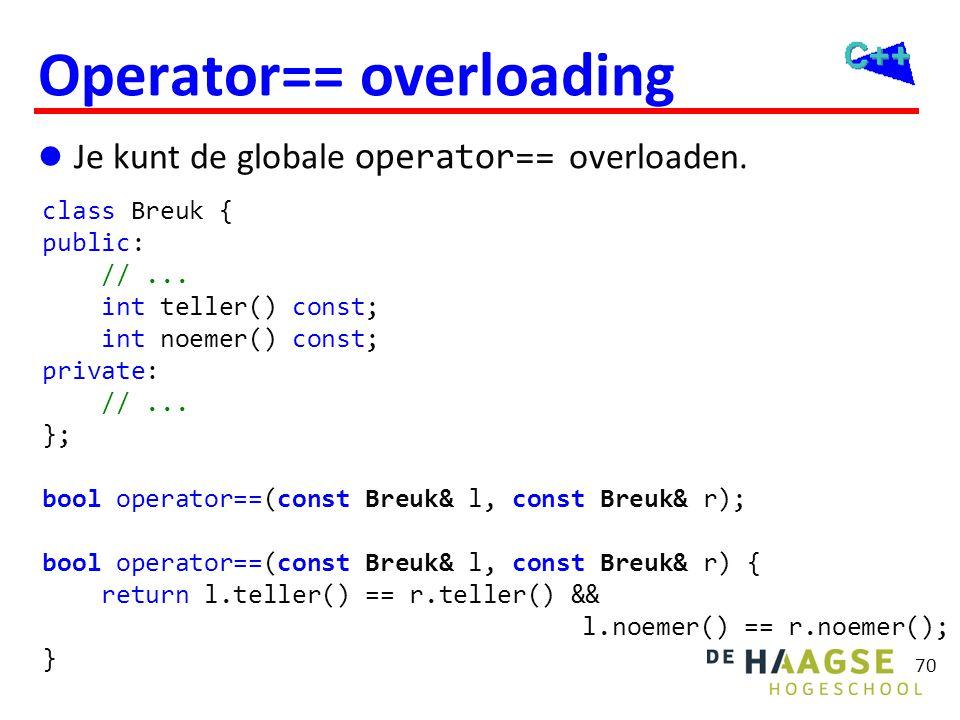 70 Operator== overloading  Je kunt de globale operator== overloaden. class Breuk { public: //... int teller() const; int noemer() const; private: //.