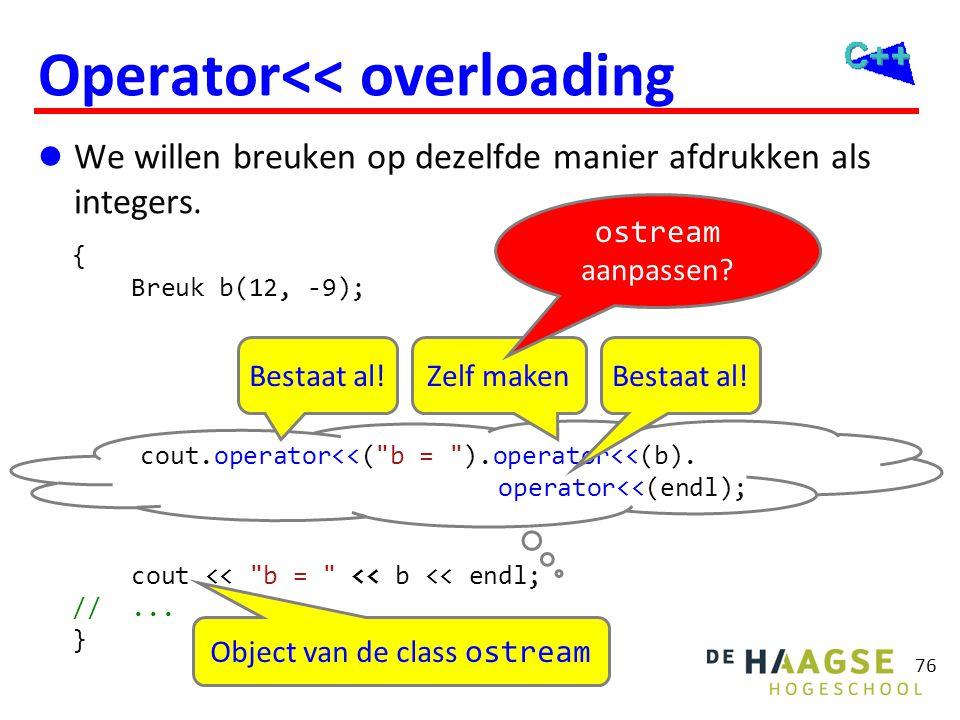 76 Operator<< overloading  We willen breuken op dezelfde manier afdrukken als integers. { Breuk b(12, -9); cout <<