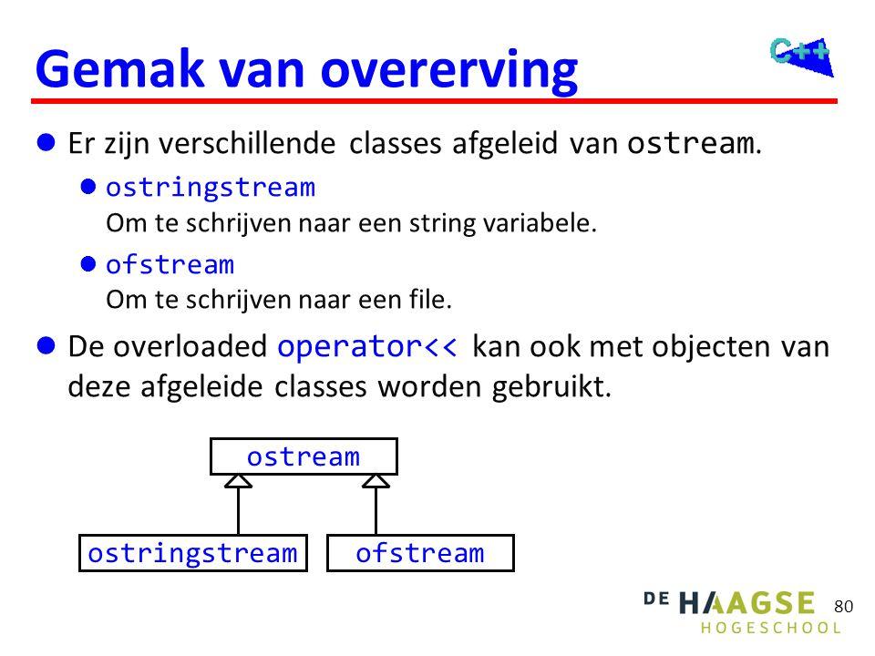 80 Gemak van overerving  Er zijn verschillende classes afgeleid van ostream.  ostringstream Om te schrijven naar een string variabele.  ofstream Om