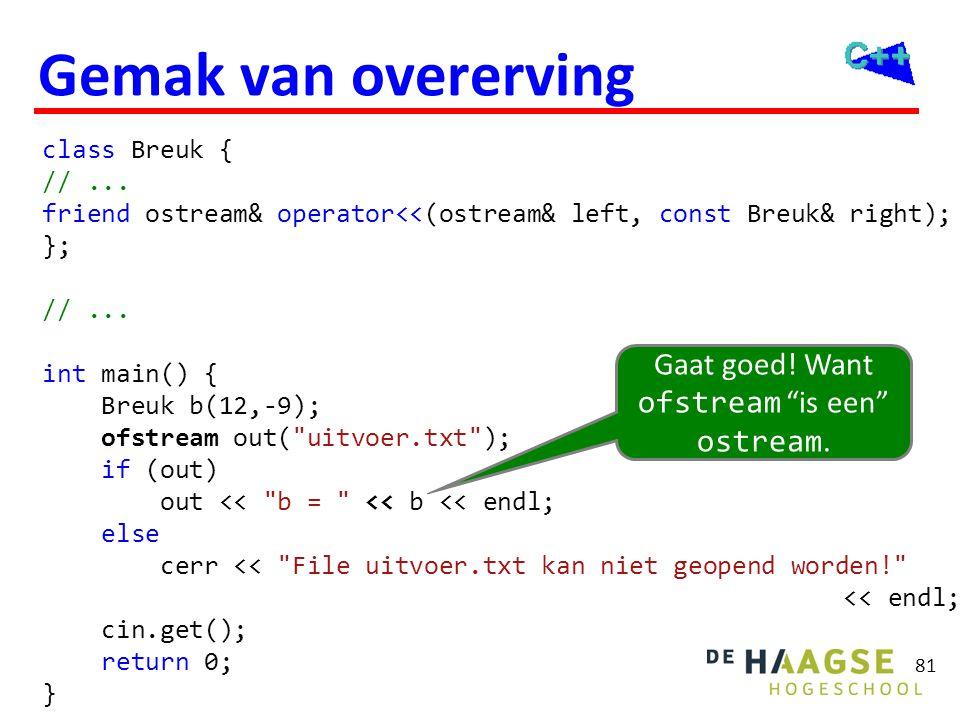 81 Gemak van overerving class Breuk { //... friend ostream& operator<<(ostream& left, const Breuk& right); }; //... int main() { Breuk b(12,-9); ofstr