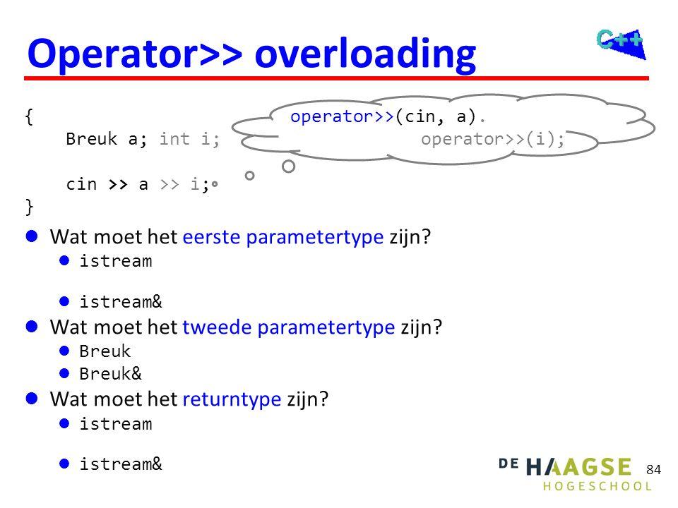 84 Operator>> overloading  Wat moet het eerste parametertype zijn?  istream De invoer moet niet worden gelezen uit een kopietje van het toetsenbordb