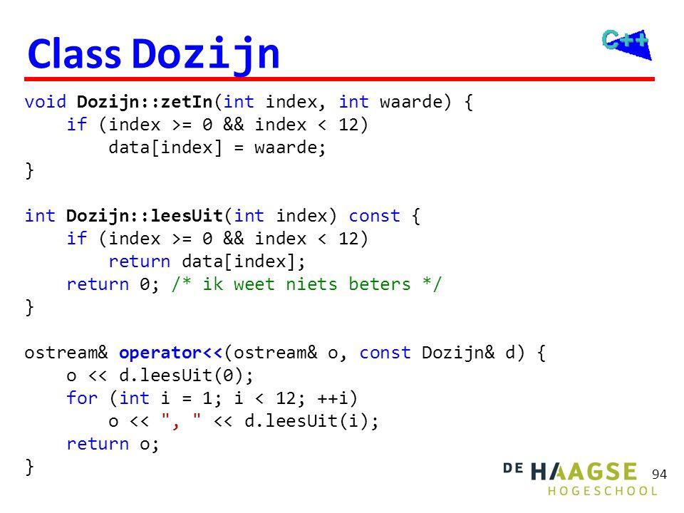 94 Class Dozijn void Dozijn::zetIn(int index, int waarde) { if (index >= 0 && index < 12) data[index] = waarde; } int Dozijn::leesUit(int index) const