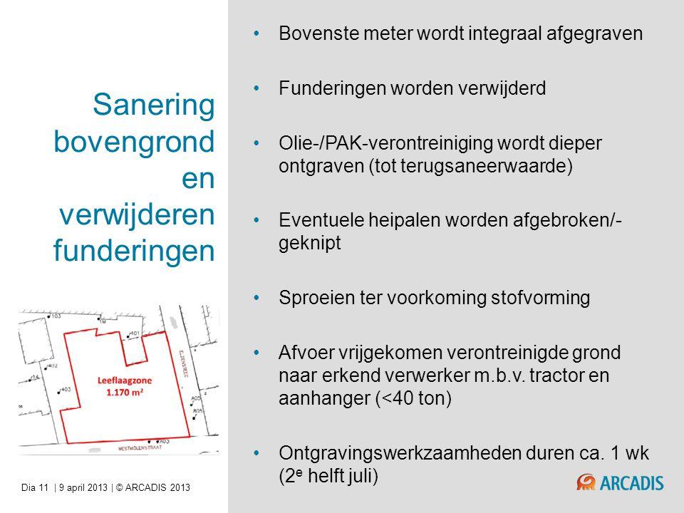 | 9 april 2013 | © ARCADIS 2013Dia 11 Sanering bovengrond en verwijderen funderingen •Bovenste meter wordt integraal afgegraven •Funderingen worden verwijderd •Olie-/PAK-verontreiniging wordt dieper ontgraven (tot terugsaneerwaarde) •Eventuele heipalen worden afgebroken/- geknipt •Sproeien ter voorkoming stofvorming •Afvoer vrijgekomen verontreinigde grond naar erkend verwerker m.b.v.