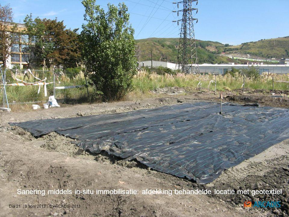 | 9 april 2013 | © ARCADIS 2013Dia 21 Sanering middels in-situ immobilisatie: afdekking behandelde locatie met geotextiel