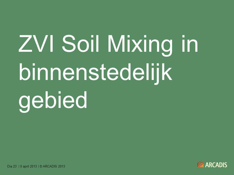| 9 april 2013 | © ARCADIS 2013Dia 23 ZVI Soil Mixing in binnenstedelijk gebied