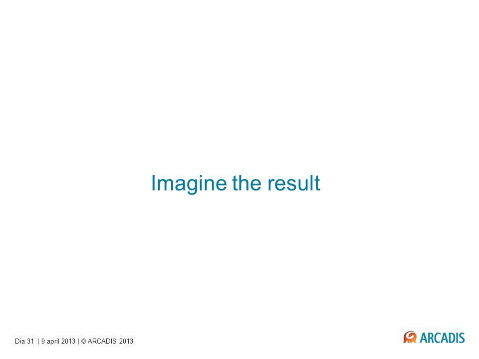 Imagine the result Dia 31 | 9 april 2013 | © ARCADIS 2013