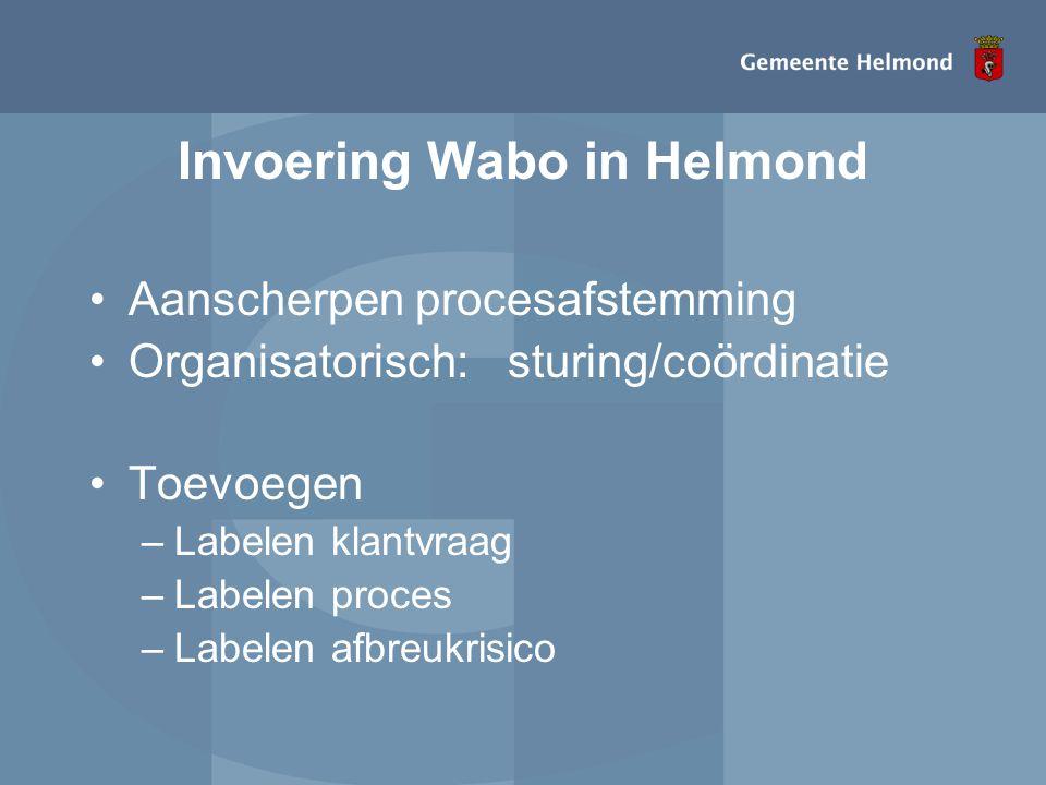 Invoering Wabo in Helmond •Aanscherpen procesafstemming •Organisatorisch:sturing/coördinatie •Toevoegen –Labelen klantvraag –Labelen proces –Labelen a