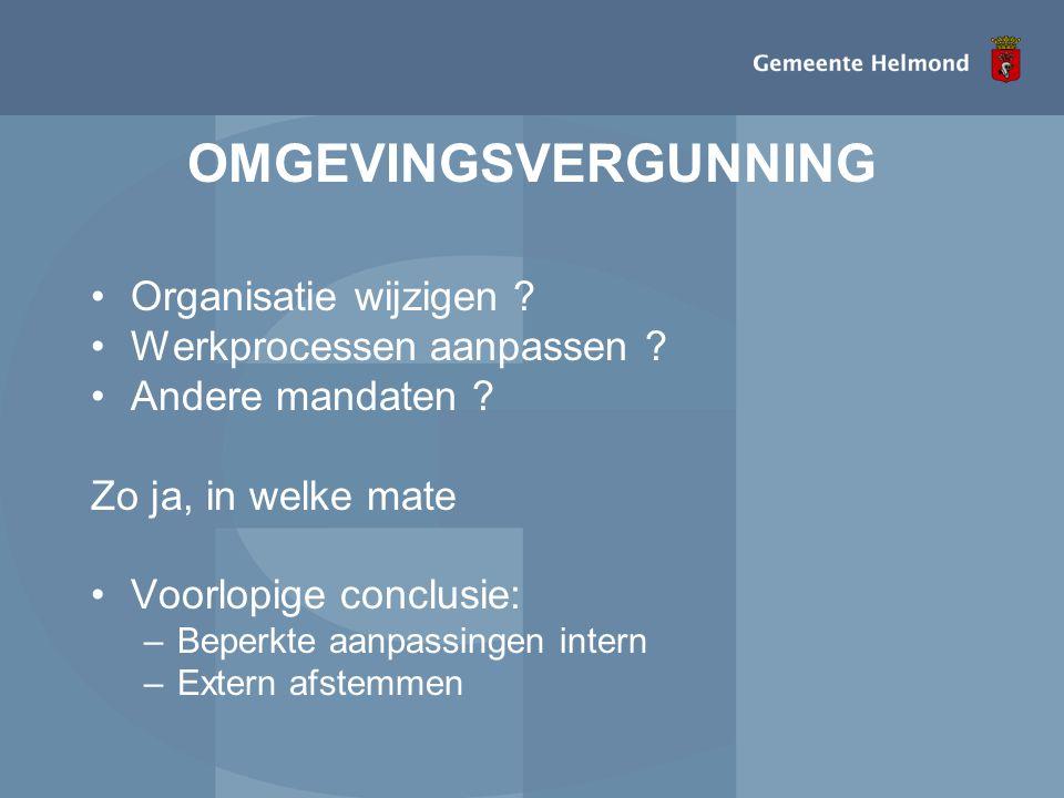 OMGEVINGSVERGUNNING •Organisatie wijzigen ? •Werkprocessen aanpassen ? •Andere mandaten ? Zo ja, in welke mate •Voorlopige conclusie: –Beperkte aanpas