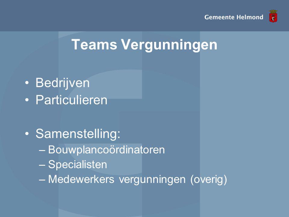 Teams Vergunningen •Bedrijven •Particulieren •Samenstelling: –Bouwplancoördinatoren –Specialisten –Medewerkers vergunningen (overig)