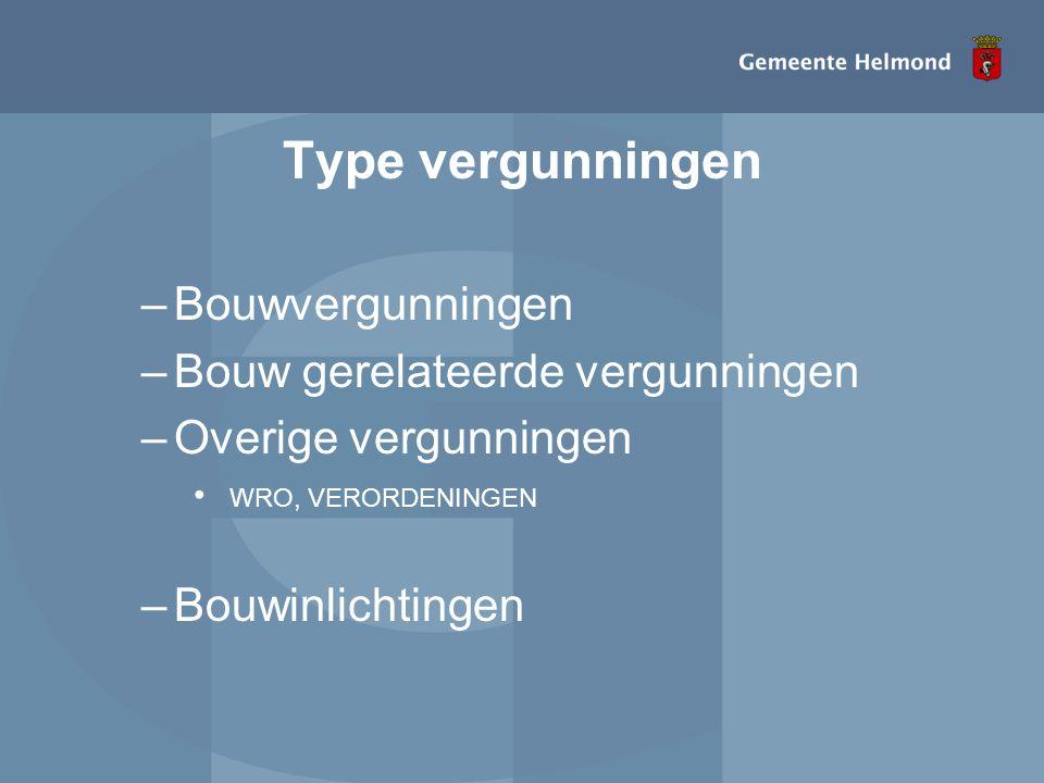 Type vergunningen –Bouwvergunningen –Bouw gerelateerde vergunningen –Overige vergunningen • WRO, VERORDENINGEN –Bouwinlichtingen