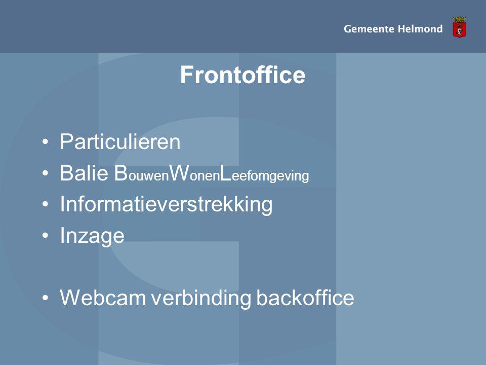 Frontoffice •Particulieren •Balie B ouwen W onen L eefomgeving •Informatieverstrekking •Inzage •Webcam verbinding backoffice