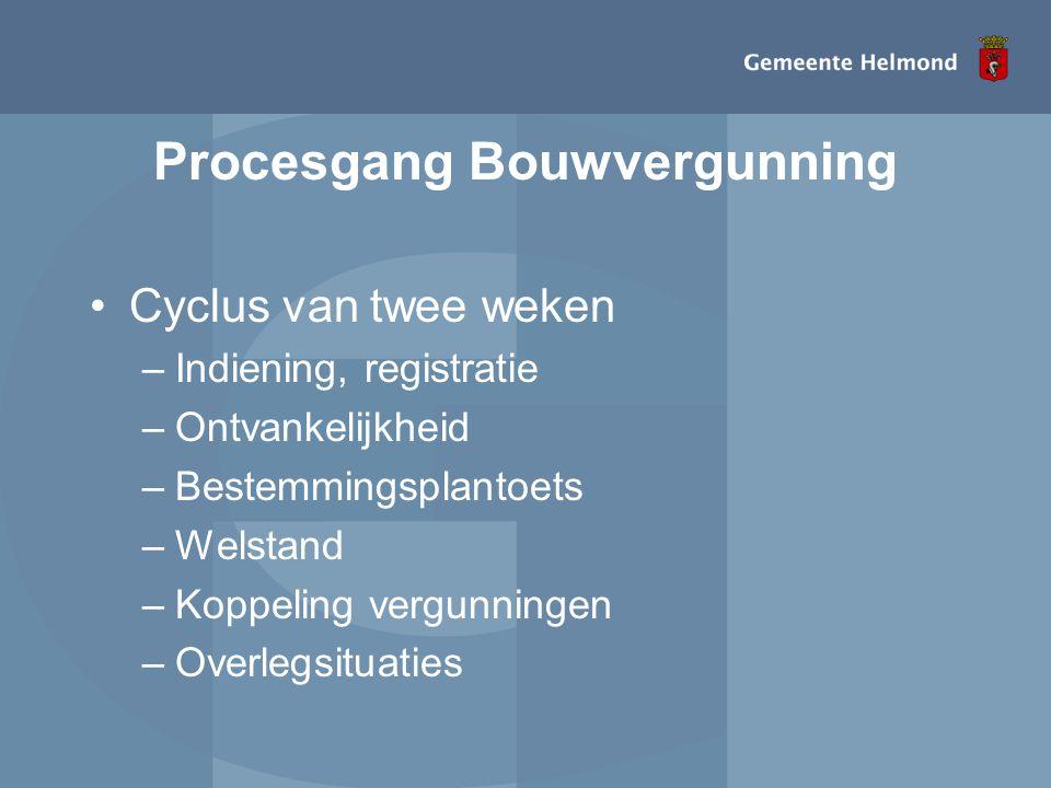 Procesgang Bouwvergunning •Cyclus van twee weken –Indiening, registratie –Ontvankelijkheid –Bestemmingsplantoets –Welstand –Koppeling vergunningen –Ov