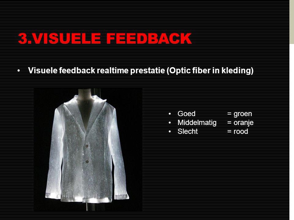 3.VISUELE FEEDBACK •Visuele feedback realtime prestatie (Optic fiber in kleding) •Goed = groen •Middelmatig = oranje •Slecht = rood