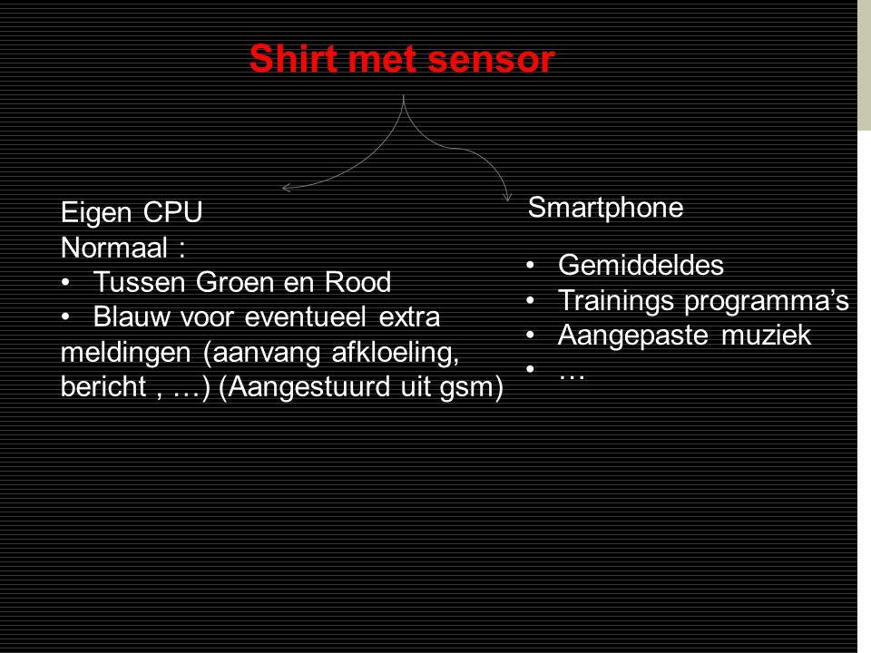 Shirt met sensor Smartphone •Gemiddeldes •Trainings programma's •Aangepaste muziek •… Eigen CPU Normaal : •Tussen Groen en Rood •Blauw voor eventueel extra meldingen (aanvang afkloeling, bericht, …) (Aangestuurd uit gsm)