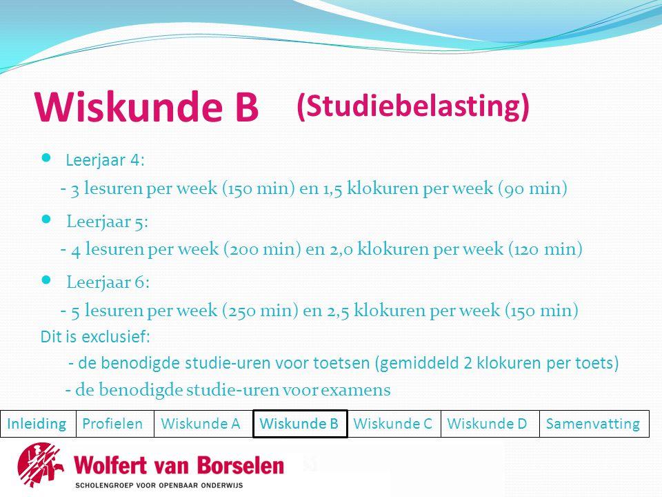  Leerjaar 4: - 3 lesuren per week (150 min) en 1,5 klokuren per week (90 min)  Leerjaar 5: - 4 lesuren per week (200 min) en 2,0 klokuren per week (120 min)  Leerjaar 6: - 5 lesuren per week (250 min) en 2,5 klokuren per week (150 min) Dit is exclusief: - de benodigde studie-uren voor toetsen (gemiddeld 2 klokuren per toets) - de benodigde studie-uren voor examens Inleiding ProfielenWiskunde AWiskunde BWiskunde CWiskunde DSamenvatting Inleiding (Studiebelasting) Wiskunde B