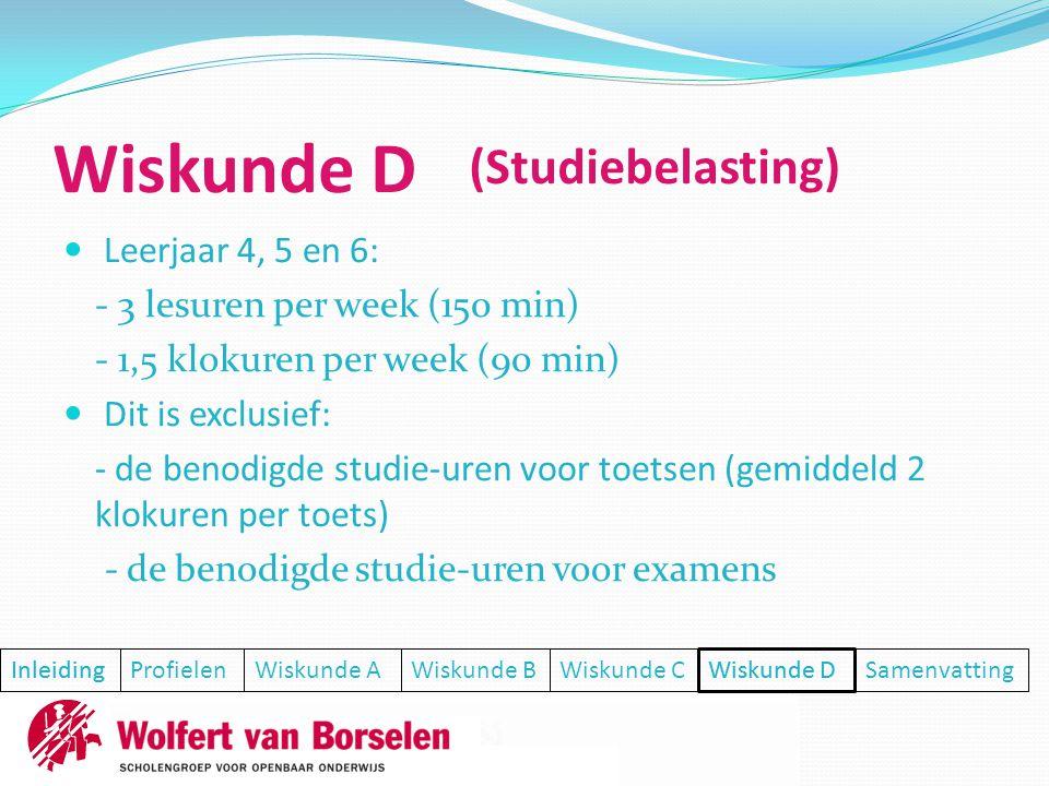  Leerjaar 4, 5 en 6: - 3 lesuren per week (150 min) - 1,5 klokuren per week (90 min)  Dit is exclusief: - de benodigde studie-uren voor toetsen (gem