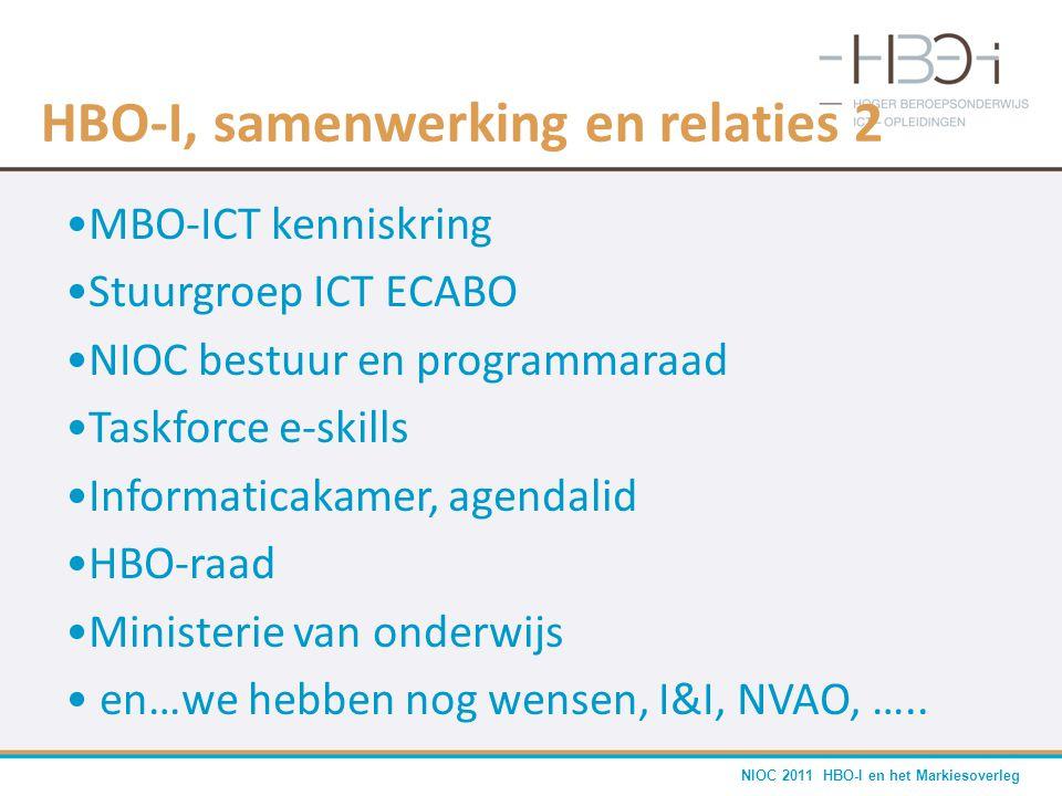 NIOC 2011 HBO-I en het Markiesoverleg HBO-I, samenwerking en relaties 2 •MBO-ICT kenniskring •Stuurgroep ICT ECABO •NIOC bestuur en programmaraad •Tas