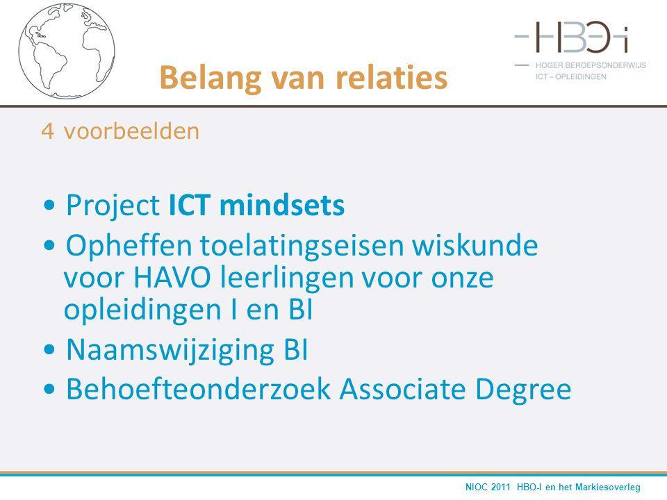 NIOC 2011 HBO-I en het Markiesoverleg Belang van relaties 4 voorbeelden • Project ICT mindsets • Opheffen toelatingseisen wiskunde voor HAVO leerlinge