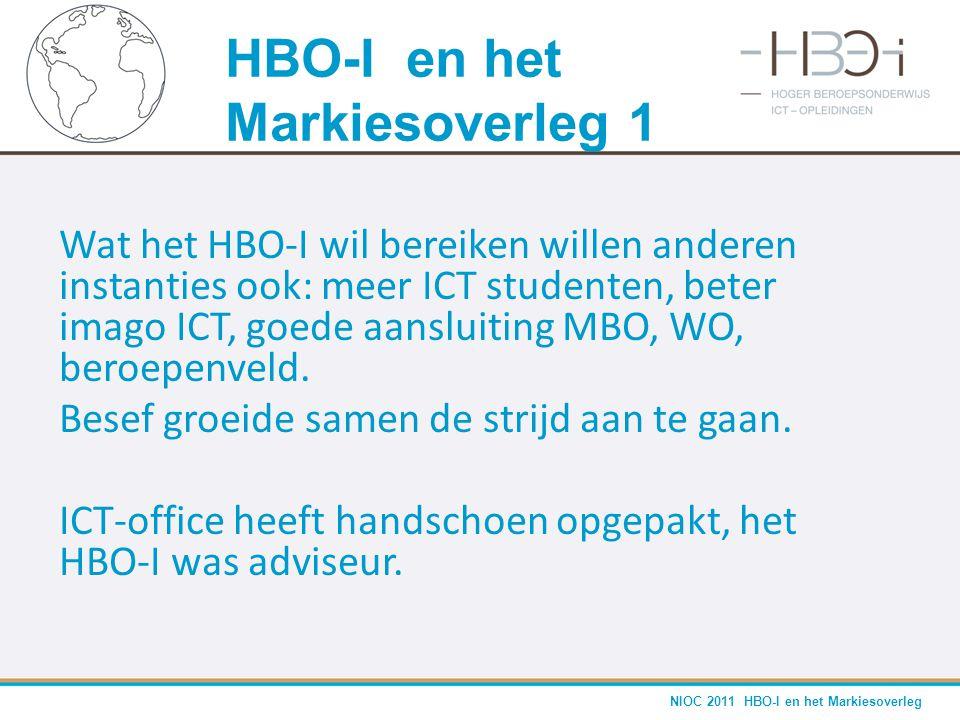 NIOC 2011 HBO-I en het Markiesoverleg Wat het HBO-I wil bereiken willen anderen instanties ook: meer ICT studenten, beter imago ICT, goede aansluiting