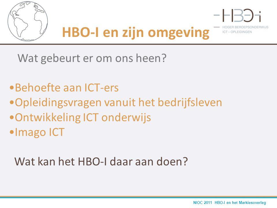 NIOC 2011 HBO-I en het Markiesoverleg HBO-I en zijn omgeving Wat gebeurt er om ons heen? •Behoefte aan ICT-ers •Opleidingsvragen vanuit het bedrijfsle
