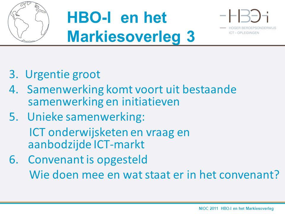 NIOC 2011 HBO-I en het Markiesoverleg 3. Urgentie groot 4. Samenwerking komt voort uit bestaande samenwerking en initiatieven 5. Unieke samenwerking: