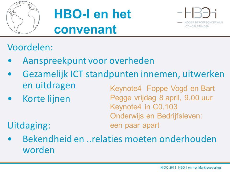 NIOC 2011 HBO-I en het Markiesoverleg Voordelen: •Aanspreekpunt voor overheden •Gezamelijk ICT standpunten innemen, uitwerken en uitdragen •Korte lijn