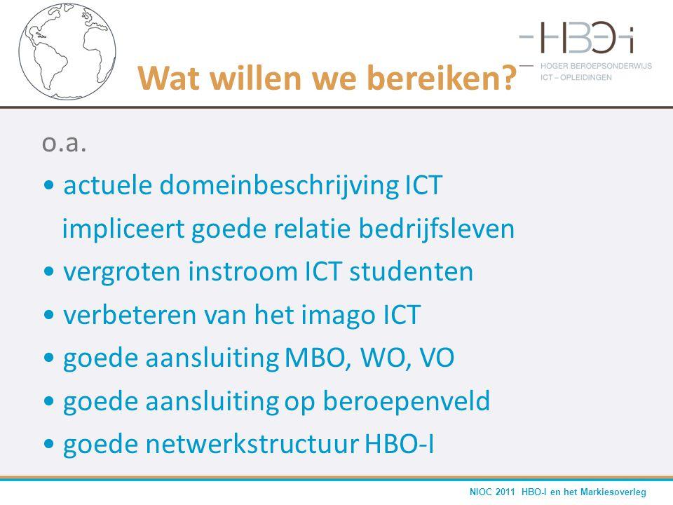 NIOC 2011 HBO-I en het Markiesoverleg Wat willen we bereiken? o.a. • actuele domeinbeschrijving ICT impliceert goede relatie bedrijfsleven • vergroten