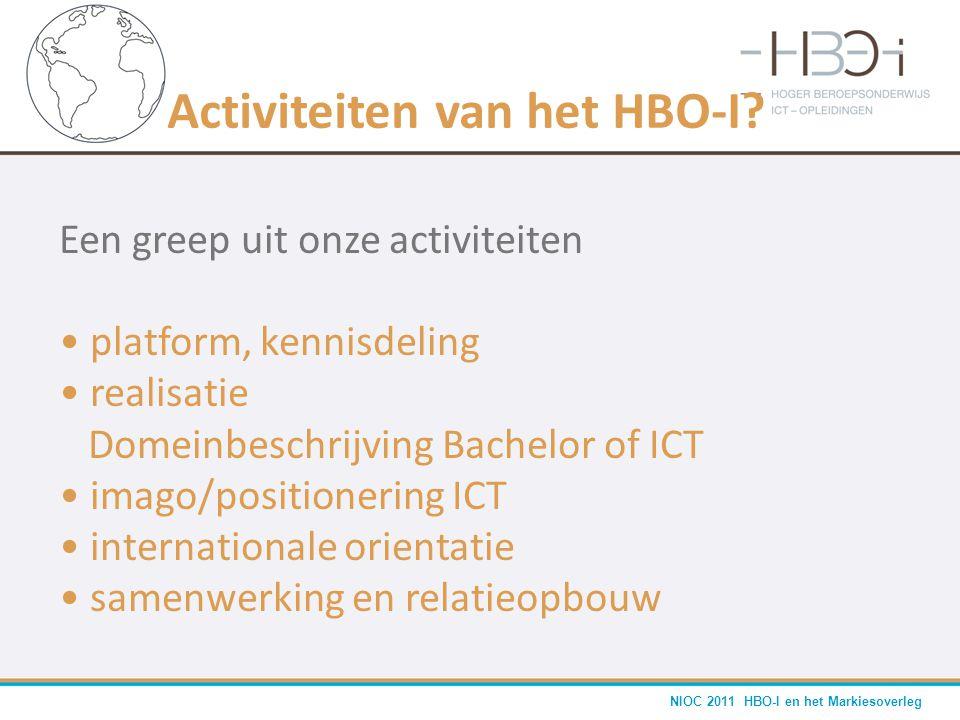 NIOC 2011 HBO-I en het Markiesoverleg Activiteiten van het HBO-I? Een greep uit onze activiteiten • platform, kennisdeling • realisatie Domeinbeschrij