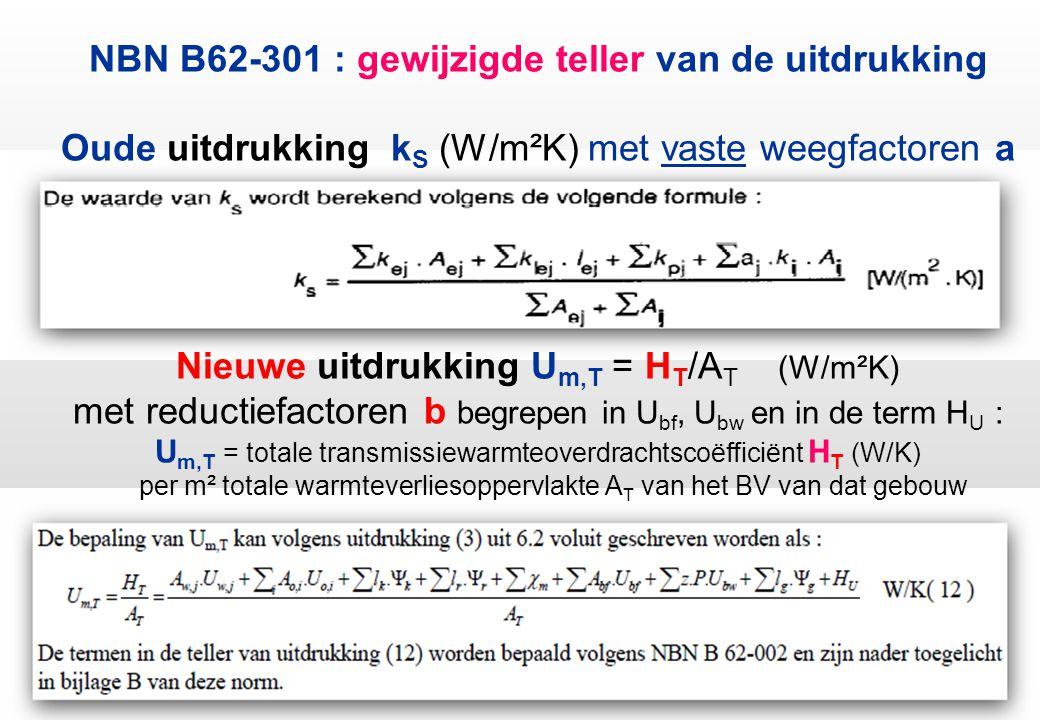 NBN B62-301 : gewijzigde teller van de uitdrukking Oude uitdrukking k S (W/m²K) met vaste weegfactoren a Nieuwe uitdrukking U m,T = H T /A T (W/m²K) met reductiefactoren b begrepen in U bf, U bw en in de term H U : U m,T = totale transmissiewarmteoverdrachtscoëfficiënt H T (W/K) per m² totale warmteverliesoppervlakte A T van het BV van dat gebouw