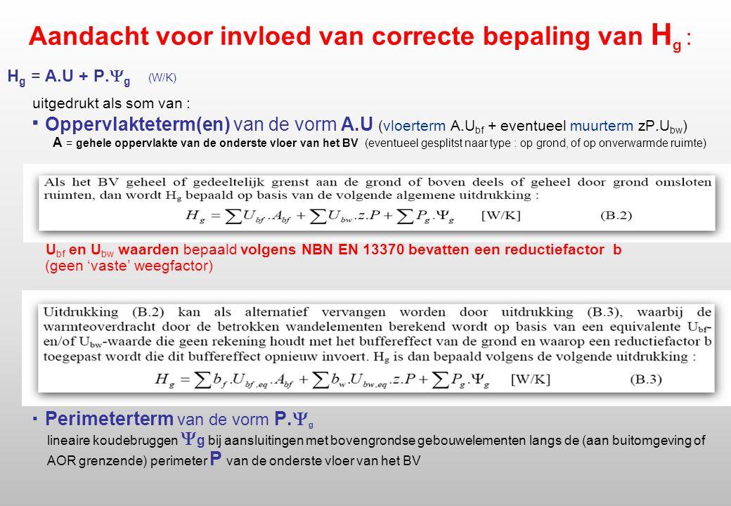 Aandacht voor invloed van correcte bepaling van H g : H g = A.U + P.