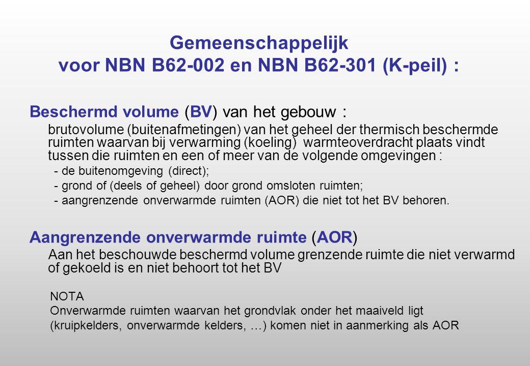Gemeenschappelijk voor NBN B62-002 en NBN B62-301 (K-peil) : Beschermd volume (BV) van het gebouw : brutovolume (buitenafmetingen) van het geheel der thermisch beschermde ruimten waarvan bij verwarming (koeling) warmteoverdracht plaats vindt tussen die ruimten en een of meer van de volgende omgevingen : - de buitenomgeving (direct); - grond of (deels of geheel) door grond omsloten ruimten; - aangrenzende onverwarmde ruimten (AOR) die niet tot het BV behoren.